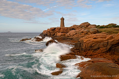 Ploumanach lighthouse (Maurizio Fontana) Tags: ocean travel blue light sunset sea sky cliff cloud lighthouse france men water clouds faro lights travels nikon europa europe tramonto nuvole mare waves nuvola blu wave bretagne atlantic cielo luci acqua isle francia viaggi viaggio luce raz oceano onde isola d800 atlantico onda scogliera fari bretagna menraz