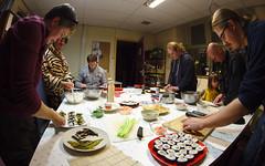 "Workshop ""Sushi Maken II"": Work in Progress (dvanzuijlekom) Tags: november david seaweed erin heather arnhem workinprogress thenetherlands seven workshop bibliotheek cookiemonster kkn nori  zeewier nigirizushi makizushi radarweg 2013 moem bugblue koningsweg  hackerspace canoneos7d sushimaken hack42 kkn6 buitenplaatskoningsweg kampkoningswegnoord alotofsushi"
