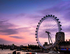The London Eye (Explored) (Jicardee29) Tags: bridge autumn sunset london water wheel river boats lights evening twilight skies colours nighttime views blueribbonwinner brokenclouds canong12