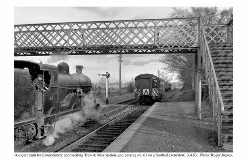 Trew & Moy. A diesel train for Londonderry passing no. 63 on a football excursion. 3.4.63