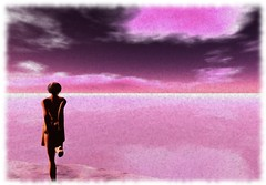 Pink (LoneSolitarian) Tags: ocean life light shadow sea sky people woman cloud art nature water girl beauty silhouette female dark landscape photography photo 3d model scenery solitude feminine avatar gimp charm romance sl human secondlife virtual attractive second lone serene lovely sim botanicalgardens firestorm windlight
