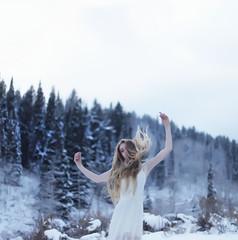 Frigid  #flickr12days (Aimee Barker (aimsphotography)) Tags: white snow canon utah dress canyon logan pinetrees canon5dmark2 aimsphotography aimeebarker flickr12days