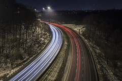 Rounding the Bend (Jack Landau) Tags: winter snow toronto highway long exposure traffic valley parkway don curve