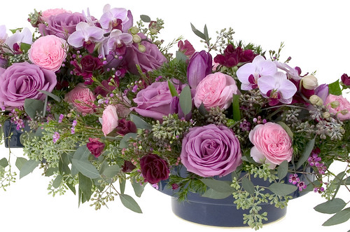 Radiant Orchid Centerpiece — David Kesler, Floral Design Institute, Inc., in Portland, Ore.