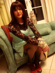 Yeah alright (Lisa Bacchae) Tags: portrait face pose glamour shoes sitting dress lace girly feminine cd lisa tgirl heels brunette transgendered tg