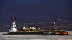 Docking To Offload (thetrick113) Tags: river hudsonriver barge hdr petroleum irishsea hudsonvalley hudsonriverice globalterminal petroleumbarge newwindsornewyork sonyslta65v kirbycorporation tugboatirishsea kirbytug