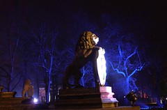Two lions / Dwa lwy (dochtuir) Tags: sculpture night lion palace mausoleum lew rzeba wilanw potocki mauzoleum