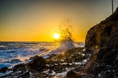 Crashing Sun (drakeuncharted8) Tags: ocean california sunset cliff sun cali coast pacific wave coastal splash drake oc westcoast pacificcoast lagunabeach lagunahills crashingwave californiasunset coastalsunset orangecountysunset southorangecountysunset calisunset drakejackson drakealexanderjackson drakealexanderjacksonphotography