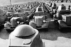 A flood of Russian armored cars move toward the front, on October 19, 1941