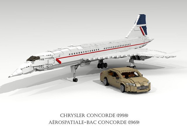 auto usa france 1969 car america plane airplane model lego render aircraft sonic aeroplane boom airline concorde sound barrier british passenger ba chrysler airways amc challenge fwd airliner lhs cad 79 lugnuts bac povray supersonic moc ldd aeronautical miniland aérospatiale anglofrench foitsop lego911 lugnutsgoeswingnuts