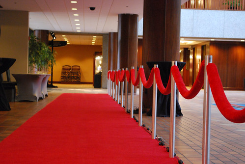 Sheraton downtown Kansas City   Custom stanchion fades under carpet for clean look.  Ropes all custom made.