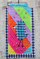 Gingham Bird Badge (JoMo (peaceofpi)) Tags: canada bird art rainbow handmade sewing brooch gingham fabric badge fiber pinny prim textileart frayed peaceofpi