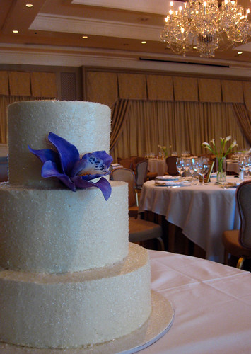 Buttercream Edible Glitter Wedding Cake with Sugar Lily Flower