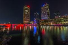 Kennedy over the Tampa Riverwalk (Photomatt28) Tags: beercan effects florida hdr hillsboroughriver nik processing reflection rivergatebuilding skyline sykesbuilding tampa tampariverwalk