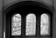 View through the Coit Tower windows (PatriciaRasjido) Tags: arched citybeyond cityscape coittower glass lookingout lookout skyscrapers three view vista window