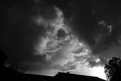 Beyond the Barn (Henry Hemming) Tags: barn sky skies brooding rushing bw light heaven