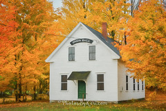 Union Hall (KAM918) Tags: week42 2016week42 2016project52 project52 textwords 52in2016 new hampshire nh kingston union hall nikon d610 autumn fall trees foliage building quintessential england newengland smalltown small town white orange