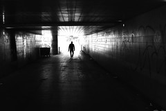 At the other end (pascalcolin1) Tags: tunnel chanel end fin bout lumire light ombre shadow homme man photoderue streetview urbanarte noiretblanc blackandwhite photopascalcolin paris12