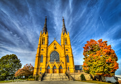 Fall Fan Saint Andrews Catholic Church (Terry Aldhizer) Tags: fall fan saint andrews catholic church roanoke virginia autumn october clouds sky architecture trees terry aldhizer wwwterryaldhizercom