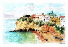 Carvoeiro - Algarve - Portugal (guymoll) Tags: usk urbansketchers aquarelle watercolour watercolor carvoeiro plage praia beach rochers falaise