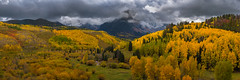 Hide-n-seek (momentsbyjohn) Tags: ouray telluride fall colors aspen colorful colorado switzerlandofcolorado cr7 west dallas road creek autumn hues overcast clouds cloudy cloudscape mt sneffels range mountains stormy sky yellow golden red leaves ridgway divide valley trees snow peaks sunshine hills nikkor