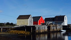 The Point, Blue Rocks (halifaxlight) Tags: canada novascotia bluerocks fishingvillage sheds wharf dock boat reflections quiet weekend lobstertraps