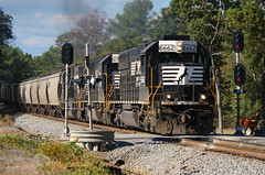 Classic Power and Classic Signals (weshendrix) Tags: norfolk southern ns train railfan railroad freight grain macon district avondale emd standard cab sd60 diesel engine locomotive outdoor signals crossing georgia ga