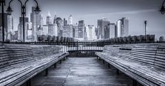 Downtown Manhattan Skyline from Liberty State Park (Suraj Bajaj) Tags: downtown manhattan skyline liberty park downtownmanhattan libertystatepark newyork newyorkcity nyc ny blackwhite blackandwhite bench lowermanhattan constrast view angle travel travelphotography