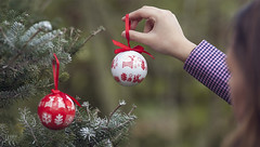 Decorating The Christmas Tree with Baubles (AlexanderMoore) Tags: alexandermoore winter autumn leaves woodland christmas location natural light red girl woman model tree walk yorkshire decoration bauble festive pine spruce trees