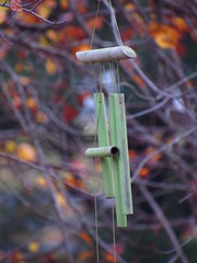 IMG_9409 (Dreolinagain) Tags: windchimes evening fall autumn leaves tree