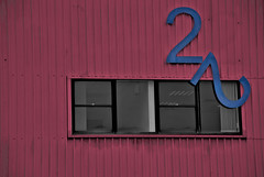 Industrial Unit 22 (Max Stocker) Tags: industrial colour building corrugated number sign red blue broken falling