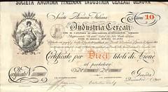 INDUSTRIA CEREALI SOC. AN. ITALIANA (scripofilia) Tags: 1904 azioni cereali industria industriacereali societàanonimaitaliana