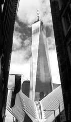 One World Trade Centre (the gizza) Tags: glass spring newyork landscape freedomtower reflections sky oneworldtradecentre america usa blackwhite clouds