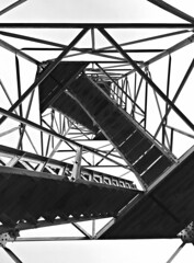 Contemplating Tower Steps (B2 Photography) Tags: tower steps towersteps steel frame construction bw blackwhite hockinghills ohio observationtower
