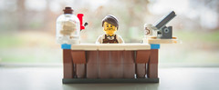 Larry Sells Coffee (Jonathan Wong Photography) Tags: barista larry the lego movie coffee stand build macro photography bokeh happy thanksgiving cold brew espresso cookies