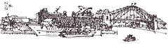 Napkin Sketch Sydney Circular Quay (panda1.grafix) Tags: sydneyharbour sketch blackandwhite pan painter