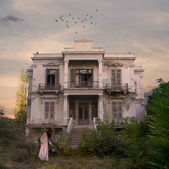 countryside district (Nicki Upstairs) Tags: abandoned birds building composite conceptual fineart haunted mansion nickipanou nickiupstairs photoshop selfportrait squarecrop surreal thessaloniki woman
