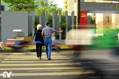 """Power of Love"" (AR's Photography) Tags: couple happycouple oldcouple streetlife vietnam hochiminh saigon travel transportation panning zebracrossing flag ontheroad nikond5200 beingtogether"