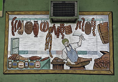 Meat Mural (cowyeow) Tags: painted art design painting asia asian filipino street funny sign funnysign angelescity philippines wall butcher meat mural drawing shop store business sausage ham ribs