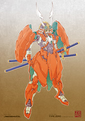Amor Suit - YOROI- TYPE ZERO -  - (Ryuji Oguni (A.R.E graphixxx)) Tags: color art japan illustration asia dragon suit armor sword scifi samurai illustrator blade katana yoroi mecha kabuto