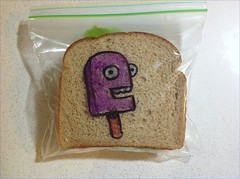 Purple Popsicle (D Laferriere) Tags: art bag sandwich glad drawer creature attleboro drawrs laferriere drawingsharpie