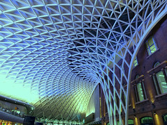 Kings Cross (Lazy B) Tags: uk roof england london station modern diamonds grid railway ceiling kingscross concourse fz150