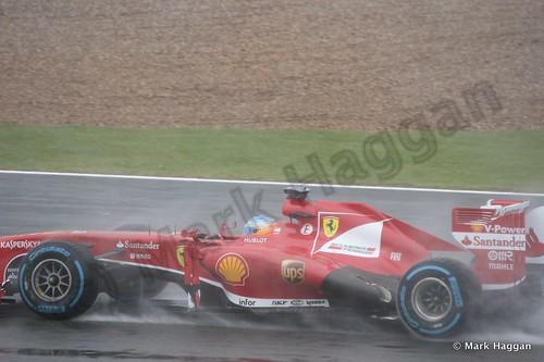 Fernando Alonson in Free Practice 1 for the 2013 British Grand Prix