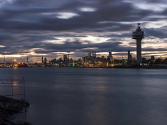 Yarraville warf at sunrise (mdcdigipics) Tags: longexposure nightphotography travel sky panorama water clouds sunrise mediumformat reflections landscape boat twilight industrial cityscape ships engineering australia melbourne wideangle victoria hasselblad docklands cloudporn waterside scapes landscapephotography skyporn portofmelbourne h3dii39ms