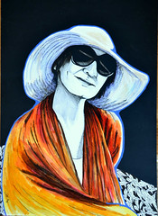 Under the Hat (Irit Levy - Mainly art) Tags: portrait woman art face hat glasses acrylic markers graphite bluelines iritlevy jkpp