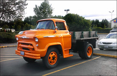 orange chevrolet truck chevrolet5700 chevylowcabforward5700 1957chevylowcabforward5700