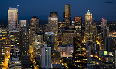 Seattle Downtown (clasch) Tags: seattle usa skyline night skyscraper washington downtown cityscape view dusk pacificnorthwest spaceneedle bluehour crpuscule 55200 d7000