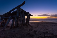 Hut (melfoody) Tags: ocean california sunset beach pacific explore hut driftwood mendocino irishbeach explored manchesterstatebeach