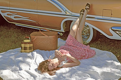 "Nikki Bee and our 1956 Watson styled Oldsmobile. • <a style=""font-size:0.8em;"" href=""http://www.flickr.com/photos/85572005@N00/10031208003/"" target=""_blank"">View on Flickr</a>"