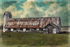 The Old Barn (jta1950) Tags: windows painterly texture field barn rural landscape countryside antique country silo whitebarn lx5 dmclx5